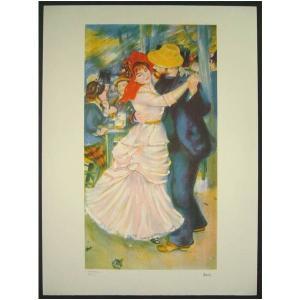ヨーロッパ版画 リトグラフ ルノワール作 「ブージヴァルのダンス」 復刻版 55X75cm|touo
