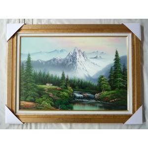 絵画 油絵 肉筆絵画 壁掛け (額縁 アートフレーム付き) 山水風景 「アルプス」- M20サイズ -280-|touo