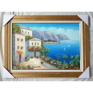 絵画 油絵 肉筆絵画 壁掛け (額縁 アートフレーム付き) 山水風景 「地中海風景」- M20サイズ -283-|touo