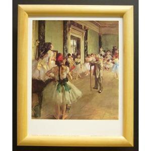 絵画 インテリア アートポスター 壁掛け ヨーロッパ製 (額縁 アートフレーム付き) サイズ八ッ切 ドガ「ダンス教室」|touo