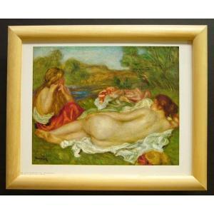 絵画 インテリア アートポスター 壁掛け ヨーロッパ製 (額縁 アートフレーム付き) サイズ八ッ切 ルノアール「Two Bathers」|touo