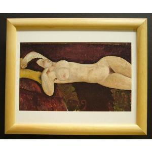 絵画 インテリア アートポスター 壁掛け ヨーロッパ製 (額縁 アートフレーム付き) サイズ八ッ切 モジリアニ「GranD Nu」|touo