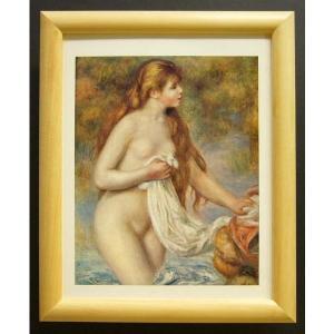 絵画 インテリア アートポスター 壁掛け ヨーロッパ製 (額縁 アートフレーム付き) サイズ八ッ切 ルノアール「Bathing nuDe」|touo
