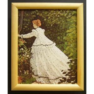 絵画 インテリア アートポスター 壁掛け ヨーロッパ製 (額縁 アートフレーム付き) サイズ八ッ切 モネ「Femmes au JarDin Detail」|touo
