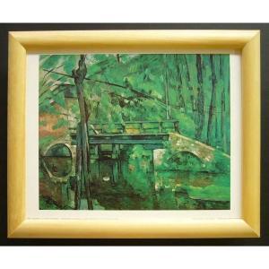 絵画 インテリア アートポスター 壁掛け ヨーロッパ製 (額縁 アートフレーム付き) サイズ八ッ切 セザンヌ「The BriDge at maincy」|touo