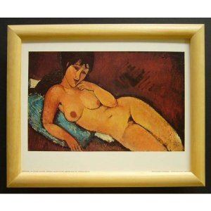 絵画 インテリア アートポスター 壁掛け ヨーロッパ製 (額縁 アートフレーム付き) サイズ八ッ切 モジリアニ「Nu Couche」|touo