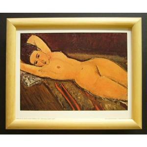 絵画 インテリア アートポスター 壁掛け ヨーロッパ製 (額縁 アートフレーム付き) サイズ八ッ切 モジリアニ「Nu Couche,les bras」|touo