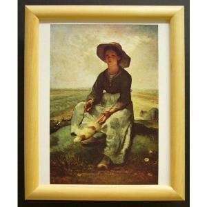 絵画 インテリア アートポスター 壁掛け ヨーロッパ製 (額縁 アートフレーム付き) サイズ八ッ切 ミレー「Young shepherDess」|touo