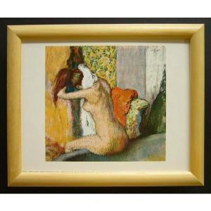 絵画 インテリア アートポスター 壁掛け ヨーロッパ製 (額縁 アートフレーム付き) サイズ八ッ切 ドガ「AFter the Bath」|touo