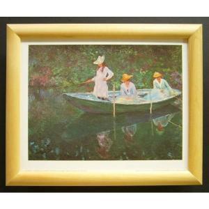 絵画 インテリア アートポスター 壁掛け ヨーロッパ製 (額縁 アートフレーム付き) サイズ八ッ切 MONET「The Boat at Giverny」|touo