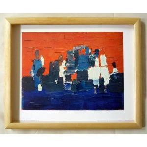 絵画 インテリア アートポスター 壁掛け ヨーロッパ製 (額縁 アートフレーム付き) サイズ八ッ切 STAEL 「LES PETITS FOOTBALLEURS」|touo