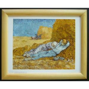 絵画 インテリア アートポスター 壁掛け ヨーロッパ製 (額縁 アートフレーム付き) サイズ八ッ切 ゴッホ「LA MERIDIENNE」|touo
