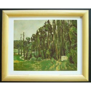 絵画 インテリア アートポスター 壁掛け ヨーロッパ製 (額縁 アートフレーム付き) サイズ八ッ切 セザンヌ「The Poplars」|touo