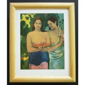 絵画 インテリア アートポスター 壁掛け ヨーロッパ製 (額縁 アートフレーム付き) サイズ八ッ切 Gauguin「Girls with reD Flowers」|touo