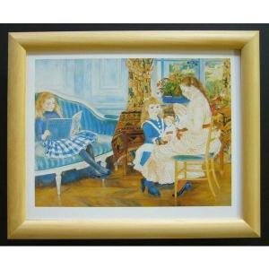 絵画 インテリア アートポスター 壁掛け ヨーロッパ製 (額縁 アートフレーム付き) サイズ八ッ切 RENOIR「The ChilDren's AFternoon」|touo