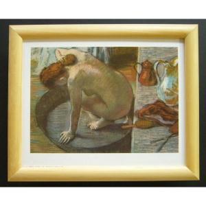 絵画 インテリア アートポスター 壁掛け ヨーロッパ製 (額縁 アートフレーム付き) サイズ八ッ切 DEGAS「LE TUB」|touo