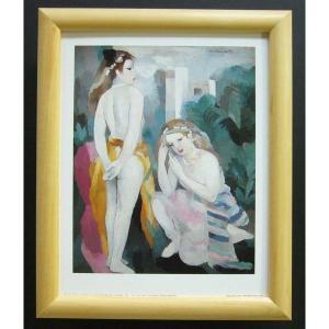 絵画 インテリア アートポスター 壁掛け ヨーロッパ製 (額縁 アートフレーム付き) サイズ八ッ切 ローランサン「Two Young Girls」|touo