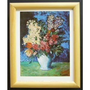 絵画 インテリア アートポスター 壁掛け ヨーロッパ製 (額縁 アートフレーム付き) サイズ八ッ切 ピカソ「Vase oF Flowers」|touo