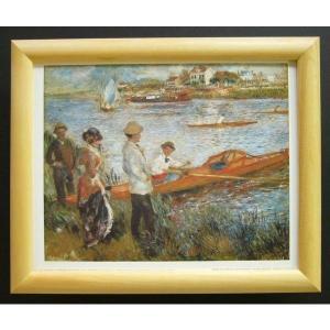 絵画 インテリア アートポスター 壁掛け ヨーロッパ製 (額縁 アートフレーム付き) サイズ八ッ切 ルノアール「Oarsmen at chatou」|touo