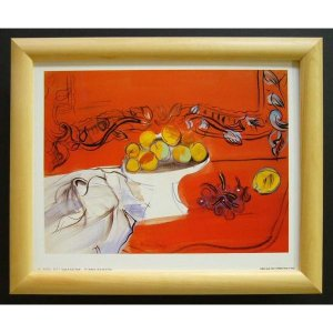 絵画 インテリア アートポスター 壁掛け ヨーロッパ製 (額縁 アートフレーム付き) サイズ八ッ切 DUFY「Coupe De Fruits」|touo