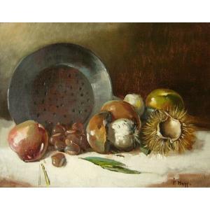 ヨーロッパ絵画 油絵 肉筆絵画 壁掛け (額縁 アートフレーム付きで納品対応可) サイズF6号 マギ作 「静物」|touo