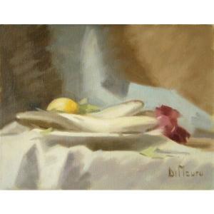 ヨーロッパ絵画 油絵 肉筆絵画 壁掛け (額縁 アートフレーム付きで納品対応可) サイズF6号 ディ・マウロ作 「静物」|touo