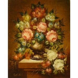 ヨーロッパ絵画 油絵 肉筆絵画 壁掛け (額縁 アートフレーム付きで納品対応可) サイズF6号 ミシェル作 「花瓶の花束」 touo