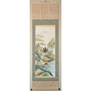 大特価!オーダーメイド掛け軸 「彩色山水 香雲」-尺五寸-海外土産にも-|touo