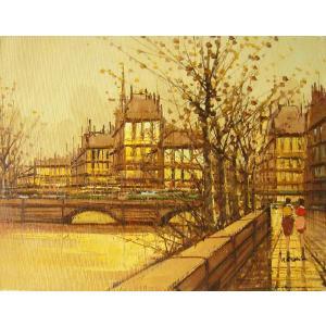 ヨーロッパ絵画 油絵 肉筆絵画 壁掛け (額縁 アートフレーム付きで納品対応可) サイズF6号 ナルディーニ作 「パリの街角」|touo