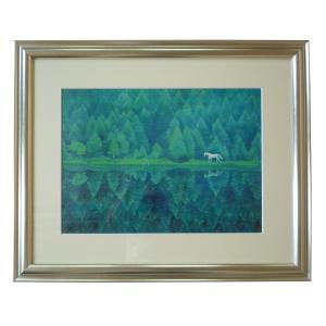 絵画 壁掛け 額縁 アートフレーム付き 東山魁夷 「緑響く」 サイズF10号特寸 世界の名画シリーズ プリハード|touo