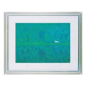 絵画 壁掛け 額縁 アートフレーム付き 東山魁夷 「緑響く」 F6号特寸 世界の名画シリーズ プリハード|touo