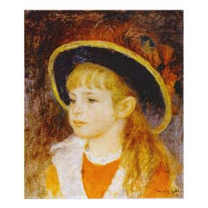 絵画 壁掛け 額縁 アートフレーム付き ピエール・オーギュスト・ルノワール 「青い帽子の少女」 F3号 世界の名画シリーズ プリハード|touo