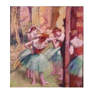 絵画 壁掛け 額縁 アートフレーム付き エドガー・ドガ 「踊り子、ピンクとグリーン」 F3号 世界の名画シリーズ プリハード|touo