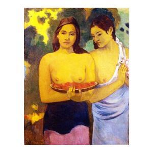 絵画 壁掛け 額縁 アートフレーム付き ポール・ゴーギャン 「二人のタヒチの女(赤い花と乳房)」 F3号 世界の名画シリーズ プリハード|touo