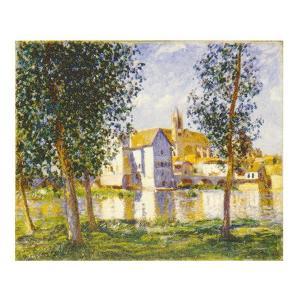 絵画 壁掛け 額縁 アートフレーム付き アルフレッド・シスレー 「ロワン河沿いの町モレ」 F3号 世界の名画シリーズ プリハード|touo