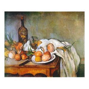 絵画 壁掛け 額縁 アートフレーム付き ポール・セザンヌ 「玉ねぎのある静物」 F3号 世界の名画シリーズ プリハード|touo