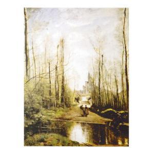 絵画 壁掛け 額縁 アートフレーム付き ジャン・バティスト・カミーユ・コロー 「マルセールの教会」 F3号 世界の名画シリーズ プリハード|touo