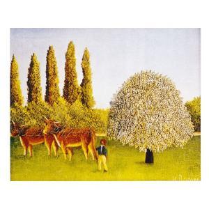 絵画 壁掛け 額縁 アートフレーム付き アンリ・ルソー 「牧場」 F3号 世界の名画シリーズ プリハード|touo
