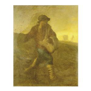 絵画 壁掛け 額縁 アートフレーム付き ジャン・フランソワ・ミレー 「種をまく人」 F3号 世界の名画シリーズ プリハード|touo