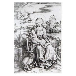 絵画 壁掛け 額縁 アートフレーム付き アルブレヒト・デューラー 「尾長猿を伴った聖母マリア」 半切 世界の名画シリーズ プリハード|touo