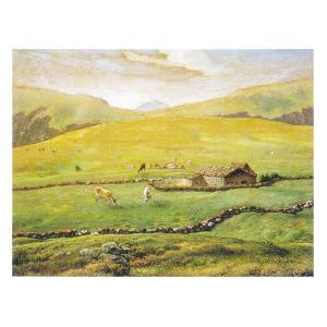 絵画 壁掛け 額縁 アートフレーム付き ジャン・フランソワ・ミレー 「ヴォージュ山中の牧場風景」 F3号 世界の名画シリーズ プリハード|touo