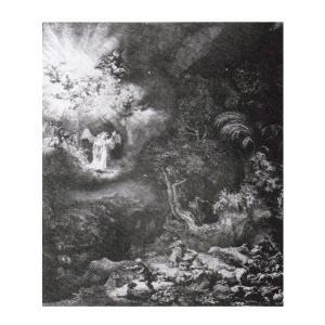 絵画 壁掛け 額縁 アートフレーム付き レンブラント・ファン・レイン 「羊飼いの前に現れた天使」 半切 世界の名画シリーズ プリハード|touo