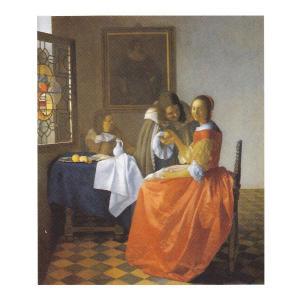 絵画 壁掛け 額縁 アートフレーム付き フェルメール 「ワイングラスを持つ娘」 F6号 世界の名画シリーズ プリハード|touo
