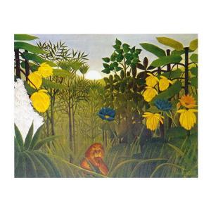絵画 壁掛け 額縁 アートフレーム付き アンリ・ルソー 「ライオンの食事」 F6号 世界の名画シリーズ プリハード|touo