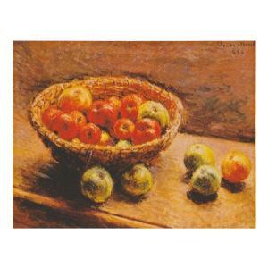 絵画 壁掛け 額縁 アートフレーム付き クロード・モネ 「リンゴの入った籠」 F6号 世界の名画シリーズ プリハード|touo