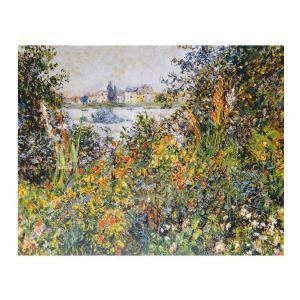絵画 壁掛け 額縁 アートフレーム付き クロード・モネ 「ヴェトゥーユの郊外・花」 F6号 世界の名画シリーズ プリハード|touo