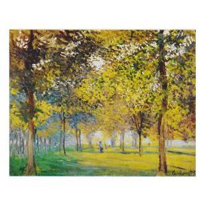 絵画 壁掛け 額縁 アートフレーム付き クロード・モネ 「アルジャントューユの広場の並木道」 F6号 世界の名画シリーズ プリハード|touo