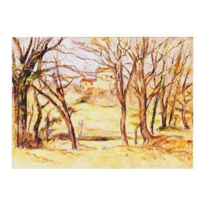絵画 壁掛け 額縁 アートフレーム付き ポール・セザンヌ 「ル・トロネ街道沿いの木と家」 F6号 世界の名画シリーズ プリハード|touo