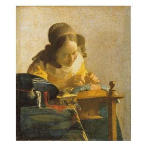 絵画 壁掛け 額縁 アートフレーム付き フェルメール 「レースを編む女」 F6号 世界の名画シリーズ プリハード|touo