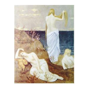 絵画 壁掛け 額縁 アートフレーム付き ピュヴィス・ド・シャバンヌ 「海辺の娘達」 F6号 世界の名画シリーズ プリハード|touo